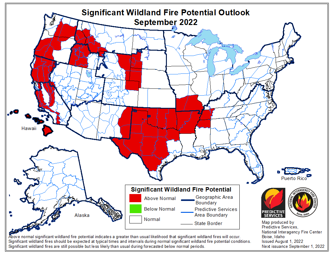 Next Month's Wildland Fire Potential Outlook